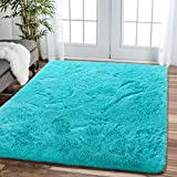Comeet Soft Living Room Area Rugs for Bedroom Fluffy Rugs for Kids Room, Floor Modern Indoor Shaggy Plush Carpets, Home Decor Fuzzy Comfy Nursery Baby Abstract Accent, Teal Blue Shag Rug 4x5.9 Feet