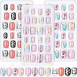 72 Uñas postizas para niños, puntas de uñas artificiales para presionar, kit de uñas postizas cortas ...