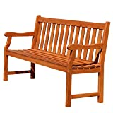 Atlantic Red Brown 5Ft Slatted Eucalyptus Wooden Garden Bench for 3 Seater in Entry Way, Porch, Balcony, Deck, Garden, Patio, Backyard, Outdoor Seating, 550 lbs Capacity