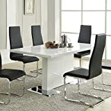 Nameth Dining Table with Metal Base Glossy White