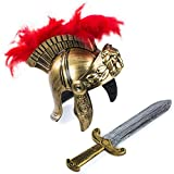 Tigerdoe Roman Soldier - Helmet & Sword - Gladiator Costume - Spartan Costume - Costumes for Kids & Adults - 2 Pc Set (2 pc Roman Helmet and Sword) Gold