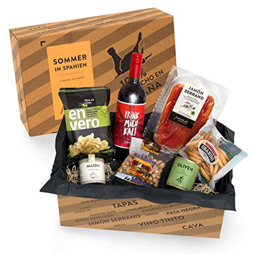 Präsentkorb SOMMER IN SPANIEN - Geschenkkorb gefüllt mit Sangria & spanischen Delikatessen -...