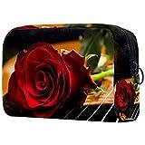 Kit de Maquillaje Neceser Guitarra Rosa Make Up Bolso de Cosméticos Portable Organizador Maletín para Maquillaje Maleta de Makeup Profesional 18.5x7.5x13cm