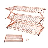 3/4-Tier Collapsible Cooling Rack with Adjustable 3 Setting Design Stackable Cooling Racks Cooling Roasting Cooking for Cookies Baking-Rose Gold