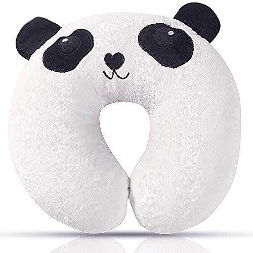 Kids Travel Pillow, Ultra Soft Kids Neck Pillow, Cute Airplane Pillow for Babies, Toddlers & Kids Neck Support on Airplane, Bus, Train, U-shaped Animal Travel Pillow with 3D Embroidery, Panda