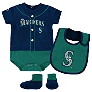 Seattle Mariners Baseball 3 Piece Bodysuit Bib Booties Infant Set (Navy Blue & Teal)Onesie Size 18 Months Creeper Fantastic Team Wordmark Logo Ultra Soft & Comfortable Infant Size 18 Months Authentic & New Product