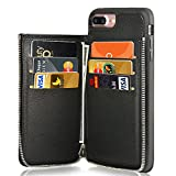 LAMEEKU iPhone 7 Plus Wallet Case, iPhone 8 Plus Leather Case, Shockproof Apple 7 Plus Credit Card Holder Slot Cases with Zipper Wallet, Protective Cover for Apple iPhone 7 Plus/8 Plus - Black