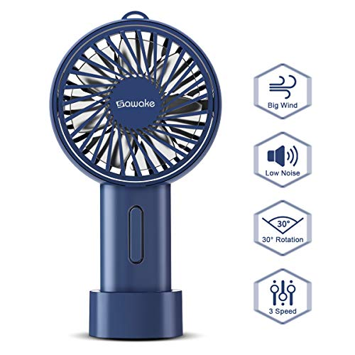 SAWAKE Handventilator mini Ventilator, elektrisch Handlüfter für Reisen, Büro, Zuhause, Draußen, Innen (148g, 15° drehbareres Design, USB aufladbar, verstellbar, Batterie, Schlüsselband)