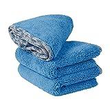 Buff Detail Microfiber Car Towels (16'x 24') | 400 GSM | 80/20 Blend | Tagless | Soft Satin Piped Edges | All-Purpose Auto Detailing - Wax, Buff, Polish, Wash, Dry | 3 Pack (Blue)