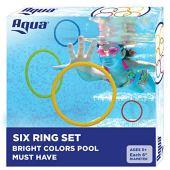 Aqua Classic Dive Rings, 6 Pack Diving Toys, Swimming Pool Toys Kids, Dive & Retrieve, EZ Grab Large Diameter Rings