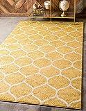 Unique Loom Trellis Frieze Collection Lattice Moroccan Geometric Modern Round Rug, 4 x 6 Feet, Yellow/Ivory