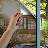 Lifetree One Way Mirror Solar Film Non Adhesive Static Cling Heat Control Anti UV Window Tint for Home and Office 60 x 200cm Black Silver