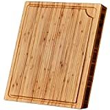 Large Bamboo Cutting Board with Juice Groove – Wooden Cutting Boards for Kitchen - 18 x 14 x 1.3' - Organic Wood Butcher Block with Slanted Sides for Easy Grab - Chopping Board for Meat and Vegetables