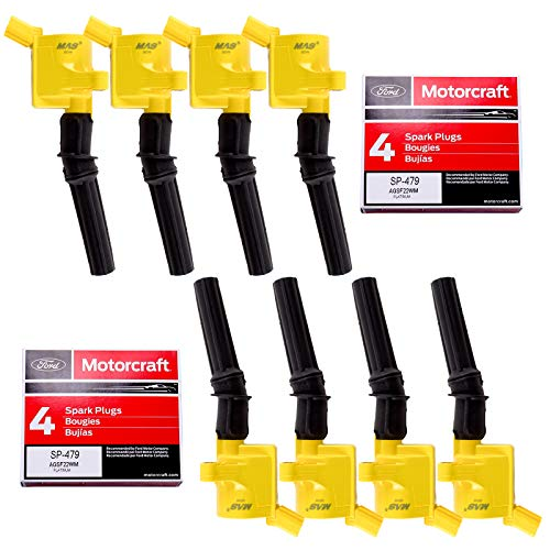 8 MAS Ignition Coil DG508 & 8 Motorcraft Spark Plug SP479 compatible with Ford 4.6L 5.4L V8 DG457 DG472 DG491 CROWN VICTORIA EXPEDITION F-150 F-250 MUSTANG LINCOLN MERCURY