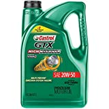 Castrol 03112 GTX High Mileage 20W-50 Synthetic Blend Motor Oil, 5 Quart