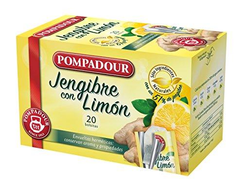 Pompadour 40118 - Té Infusion Jengibre con Limón, 20 bolsitas