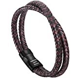 murtoo Mens Bracelet Leather Braided, Brown and Black Leather Bracelet for Men (Brown-Black)