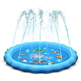 QPAU (Upgraded 2020 Version) Sprinkler for Kids, Sprinkle and Splash Play Mat 68',Outside Toy Water Toys for Kids Outdoor, Outdoor Toys for Toddlers Age 3-5 (Blue)