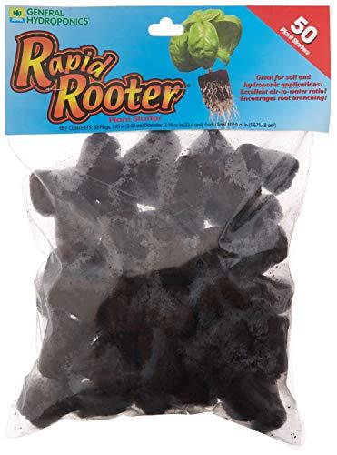 General Hydroponics Rapid Rooter Plant Starters, 50 Plugs, Black