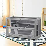 Hamster Cage Wooden Hamster House Rat Cage with Chewing Toy, Hideout, Seesaws, Food Bowl, 3 Tier Small Animal Habitat-Leakproof Plastic Tray