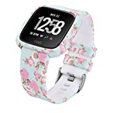 CAGOS Compatible with Fitbit Versa/Versa 2/Versa Lite Bands Women Men, Silicone Straps Replacement Accessories Wristbands with Protective Case for Fitbit Versa Smartwatch (Pale Blue Rose, Large)