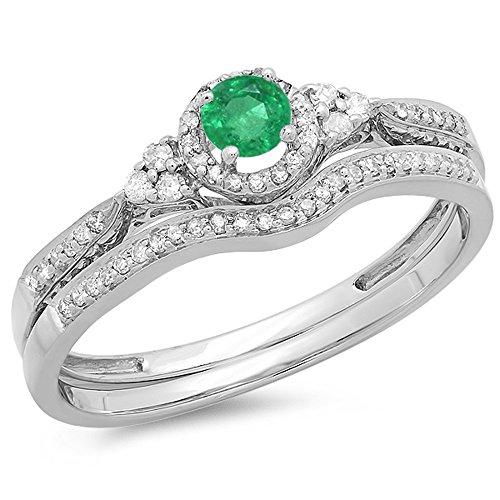 Dazzlingrock Collection - Juego de anillos de compromiso para novia, estilo halo, diamante blanco y esmeralda redondo de 10 K