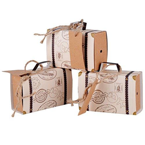 100 x Cajas de Caramelo Dulces Bombones para Boda Fiestas Cumpleaños Bautizo en forma de Tronco Conjunto Cuerdas de Cáñamo y Tarjeta (Marrón)