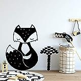 wZUN Pegatinas de Pared de Zorro de Dibujos Animados decoración de la Pared de la habitación de los niños Pegatinas de Animales del Bosque nórdico decoración del Dormitorio de los niños 54X63cm