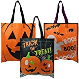 24 Pack Halloween Trick or Treat Tote Bags with Handles Pumpkin Spider Web & Ghost Designs Halloween Goody Bag for Kids Party Favor Supplies