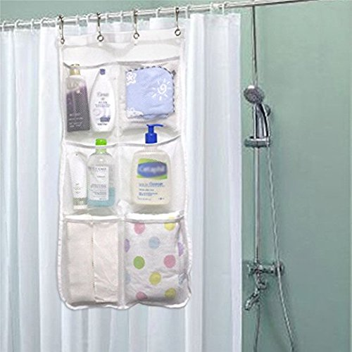 Shower Curtain Caddy 6 Pockets Loading 25LB - Quick Dry Shower...