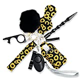 Self defense keychain for women, With Safe Sound Personal Alarm, Self-Defence Key Chain Anti-Wolf Defense Keychain - 1 Pack with 10 items Black Sunflower