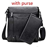 QAQA  Business Leather Men Messenger Bags Maletín para Documento Bolso Satchel Portfolio Brief Case Bolsa para Teléfono-Negro