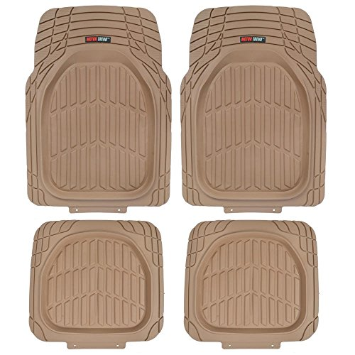 Motor Trend Flextough Tortoise - Heavy Duty Rubber Floor Mats for Car SUV Van & Truck - All Weather Protection - Deep Dish (Tan Beige)