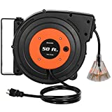 DEWENWILS Retractable Extension Cord Reel, 50 FT Heavy Duty Power Cord, 14AWG/3C SJTOW, 3 Grounded Outlets Lighted Triple Tap, 13 Amp Circuit Breaker, UL Listed