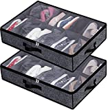 Under Bed Shoe Storage Organizer for Closet Fits 24 Pairs - Sturdy Underbed Shoe Container Box Bedding Storage with Clear Cover Set of 2 Black with Printing