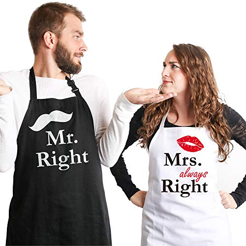 Syntus Mr. and Mrs. Apron, 2 Pack Couple Aprons for...