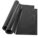 Happybuy Garage Floor Mats 2 Rolls 17 x 3.6 Ft Garage Mat 2.5mm Thickness Black Garage Flooring PVC Garage Mats for Under Car