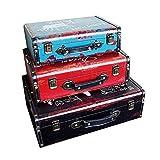 GPWDSN Caja Decorativa 3 Piezas Vintage Maletas Decorativas Accesorios de Tiro para la Edad y la decoración Cajas de Edad (3 Piezas)