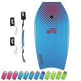 BPS 37 Inch Bodyboard with Boogie Board Wrist Leash and Swim Fins Leash (Blue/Purple)