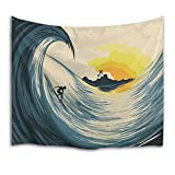 QiyI Wall Hanging Nature Art Fabric Tapestry for Dorm Room, Bedroom, Living Room Beach Sheets Ocean Home Decorations Tapestries - 80'L x 60'W (203cmx153cm), Surfing