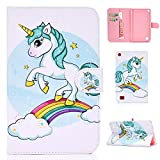 Jorisa Tablet Case Compatible with All New Amazon Kindle Fire 7 2019/2017/2016,Slim Leather Magnetic Smart Auto Wake/Sleep Cover Flip Folio Stand Wallet Case with Card Slots,Rainbow Horse