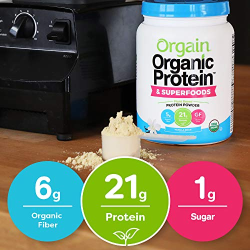 Orgain Organic Plant Based Protein + Superfoods Powder, Vanilla Bean - Vegan, Non Dairy, Lactose Free, No Sugar Added, Gluten Free, Soy Free, Non-GMO, 1.12 Lb 8