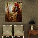 wZUN Hombre Indio con Cartel de Retrato de Plumas e impresión Mural Arte Lienzo Pintura decoración Pintura Sala de Estar decoración del hogar 50x60 cm