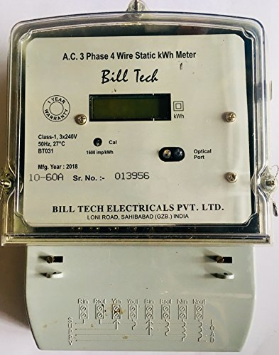 Billtech Sub Meter A.C. 3 Phase 4 Wire LCD Display Meter Rating:- 10-60Amp (Class-1)