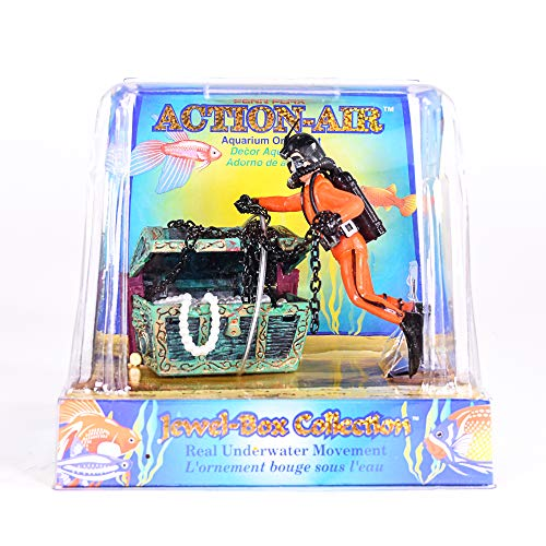 Penn Plax Aquarium Decoration With Moving Treasure Chest, Floating Diver and Bubbles