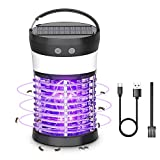 Qremove Solar Powered Bug Zapper,Pest Control Waterproof UV Mosquito Zapper Portable Mosquito Zapper for Indoor & Outdoor, Rechargeable Insect Fly Trap Attractant 3-in-1 Electric Mosquito Killer