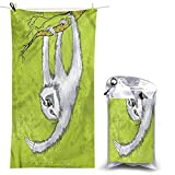 DJNGN Toallas de Playa de Microfibra, Perezoso, Rama de Animal, 55 x 27,5 Pulgadas Toallas de Secado rápido Toallas de baño Ligeras