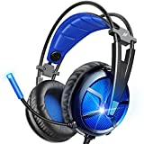 ABKONCORE Gaming Headset with 7.1 Surround Sound, PS4 Headset with Noise-Cancelling Mic, On-Ear Volume&Mute Controls, Breathable Earcup, LED Light, USB Gaming Headphone for PS4 Console, PC, Laptop
