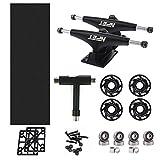 NPET Skateboard Bearings, Skateboard Wheels 52mm, Skateboard Trucks, Skateboard Grip Tape, Skate Tool Combo Set (Black)