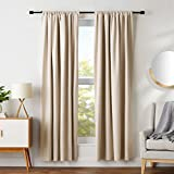 AmazonBasics Room Darkening Blackout Window Panel Curtains - Pack of 2, 52 x 84 Inch, Beige